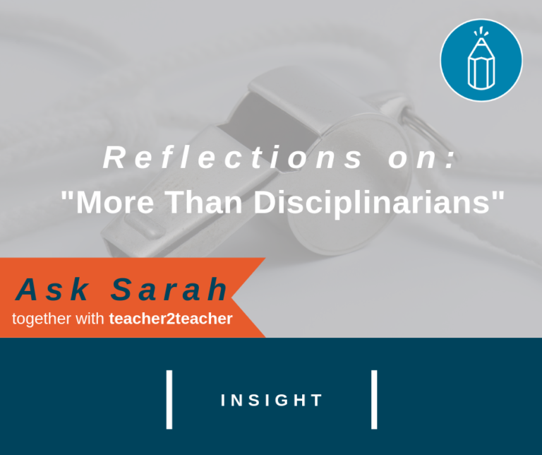 Reflections on More than Disciplinarians